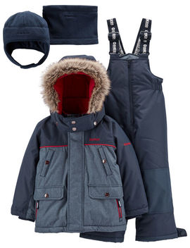 Osh Kosh B'gosh          2 Piece Fleece Lined Snowsuit With Bonus Hat & Neck Warmer by Oshkosh