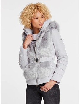 Padded Jacket With Faux Fur by Guess