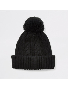 black-cable-knitted-bobble-beanie-hat by river-island