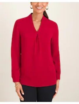 pleated-v-neck-pullover by chicos