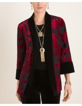 Reversible Black To Red Velvet Jacket by Travelers Collection