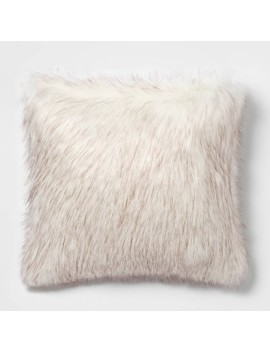 tipped-faux-fur-square-throw-pillow-cream_brown---threshold by shop-this-collection