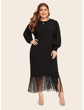 shein plus-high-waist-wrap-fringe-detail-dress by shein