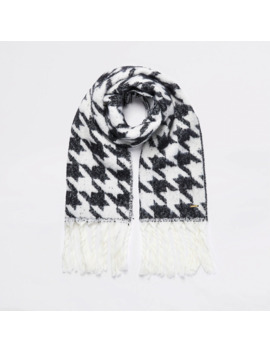 black-dogtooth-check-knitted-scarf by river-island