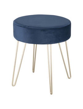 Navy Stool With Metal Legs   Navy by The Range