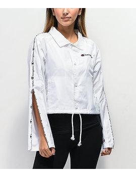 champion-zipper-tape-white-crop-coaches-jacket by champion