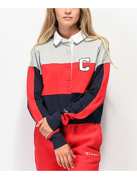 champion-rugby-red,-blue-&-grey-crop-long-sleeve-shirt by champion