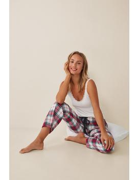 Long Check Printed Trousers by Women'secret