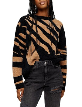 abstract-stripe-chenille-sweater by topshop