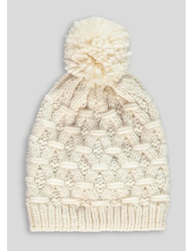 cream-knitted-bobble-hat by matalan