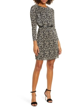 leopard-print-micropleat-belted-long-sleeve-dress by sam-edelman