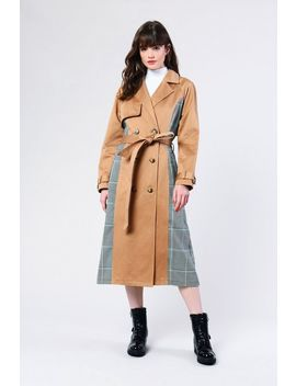 **stone-mixed-checked-trench-coat-by-glamorous by topshop