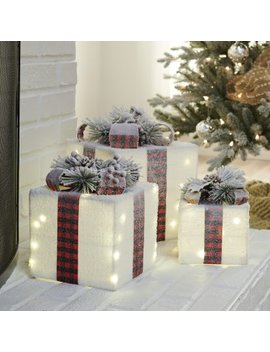 Belham Living 3 Piece Lighted White Decorative Christmas Package Set by Hayneedle