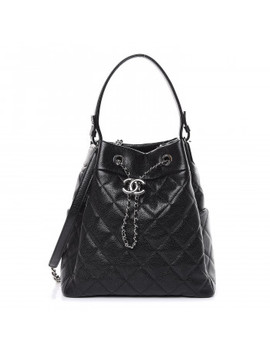 chanel-grained-calfskin-quilted-medium-cc-chain-bucket-drawstring-bag-black by chanel