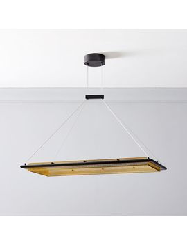 perforated-single-led-rectangular-chandelier by west-elm