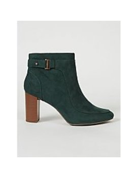 dark-green-suede-effect-buckle-ankle-boots by asda
