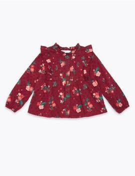 cotton-floral-blouse-(3-months---7-years) by marks-&-spencer