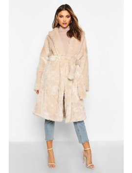 luxe-faux-fur-belted-coat by boohoo