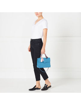 Sailor Blue Large Leather Queenie Handbag by Lulu Guinness