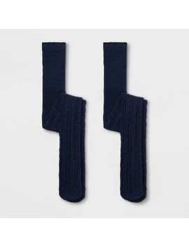 girls-2pk-cotton-cable-texture-tights---cat-&-jack-navy by cat-&-jack