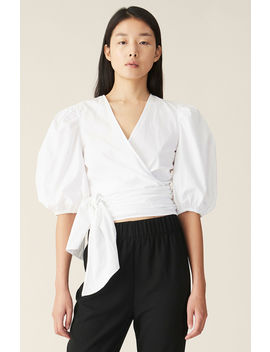 Plain Cotton Poplin Wrap Blouse by Ganni
