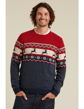 fatface-red-stag-fairisle-pattern-crew-neck-jumper by next