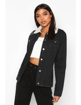 Tall Borg Lined Denim Jacket by Boohoo
