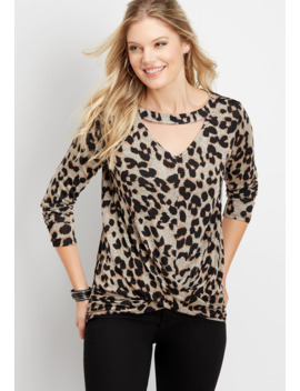 24/7 Leopard Cut Out Neck Twisted Tee by Maurices