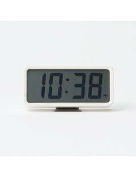 Digital Clock With Alarm   Medium   White by Muji
