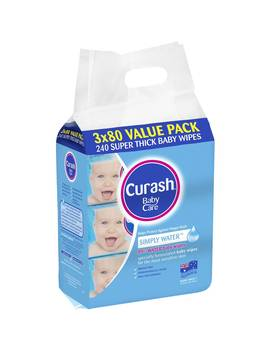 Curash Water Wipes 3x80pk by Woolworths