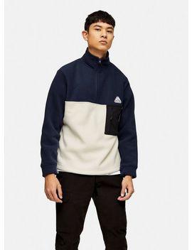 navy-and-ecru-fleece-zip-sweatshirt by topman