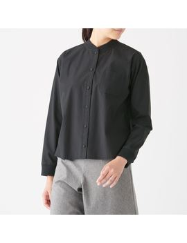 xinjiang-cotton-washed-pin-oxford-rib-stand-collar-shirt by muji