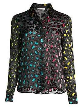 Women's Willa Colorblock Leopard Velvet Burnout Blouse by Women's Willa Colorblock Leopard Velvet Burnout Blouse