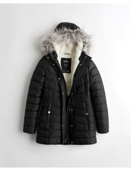 Sherpa Lined Puffer Parka by Hollister