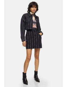 studded-black-denim-high-waist-skirt by topshop