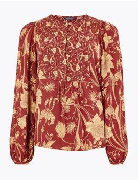 floral-print-bib-detail-blouse by marks-&-spencer