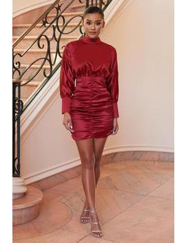 red-satin-high-neck-ruched-mini-dress by club-l-london