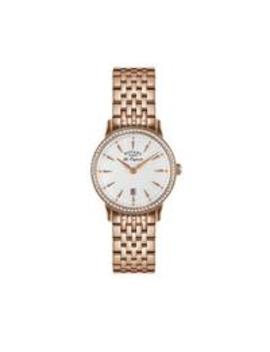 rotary-silver-sunray-crystal-set-date-dial-rose-gold-stainless-steel-bracelet-ladies-watch by rotary