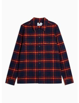 Navy And Red Check Overshirt by Topman