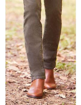 Women's Wide Width Leather Side Zip Chelsea Boots by Lands' End