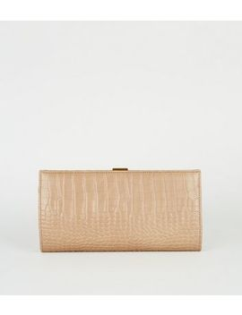 camel-faux-croc-clutch-bag by new-look