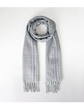 mint-green-check-tassel-trim-scarf by new-look
