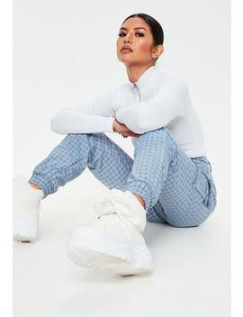 petite-blue-check-cargo-joggers by missguided