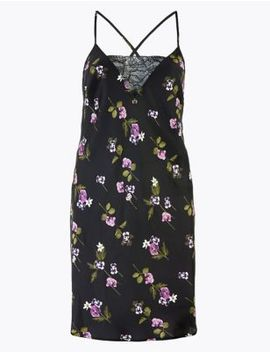 satin-floral-print-short-chemise by marks-&-spencer