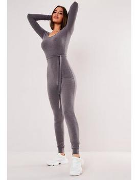 grey-rib-corset-tie-jumpsuit by missguided