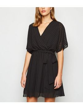 black-chiffon-stripe-tie-waist-wrap-dress by new-look