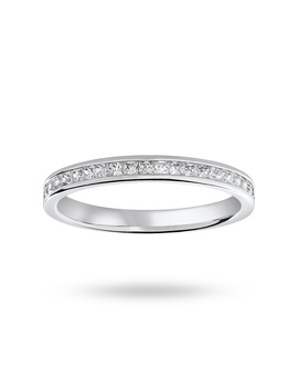 9 Carat White Gold 0.33 Carat Princess Cut Half Eternity Ring by Goldsmiths