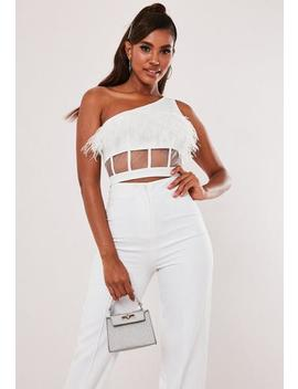 white-feather-mesh-one-shoulder-crop-top by missguided