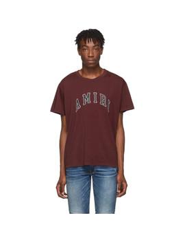 burgundy-college-logo-t-shirt by amiri