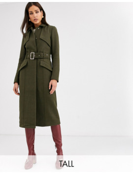 yas-tall-belted-military-coat-in-green by yas